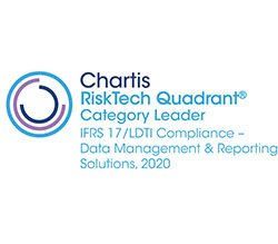 Chartis RiskTech Quadrant Category Leader IFRS 17/LDTI Compliance - Data Management and Reporting Solutions, 2020 award logo
