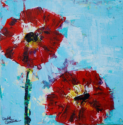 Clever credit card art poppies
