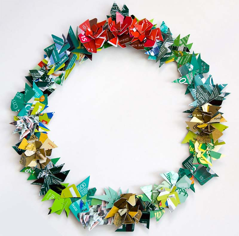 Clever credit card art wreath